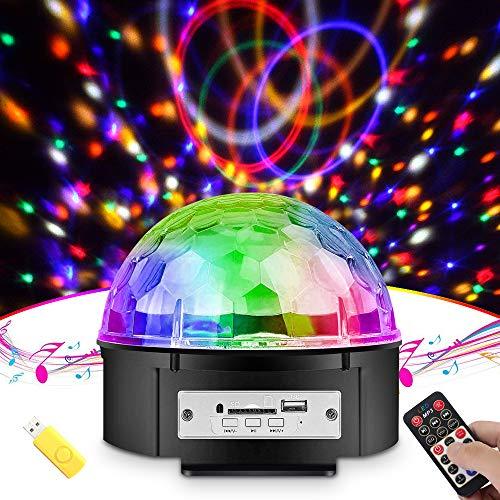 Discokugel, omitium Partylicht Musik Player Discolicht mit USB-Stick 9 Farbe 3 Steuermodi sprachsteuerte LED Discokugel mit Fernbedienung für Party Kinder Spielzeug Feier Karaoke Geburtstag