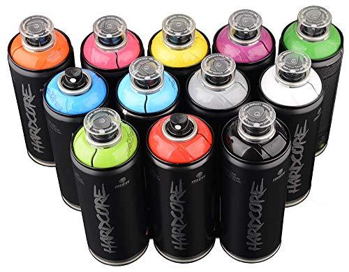 MTN Hardcore 2400ml de colores populares Juego de 12Graffiti Street Art Póster Mural de pintura en spray