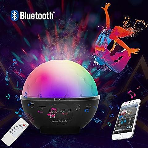 Luci da Palco Sfera Luce LED Effetto Discoteca Multicolore Girevole con Altoparlante Wireless Bluetooth, MP3/Controllo Remoto, USB per KTV, Riunioni di Famiglia, Feste Private, Discoteche - Duomishu