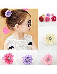 Lot de Elastiques Cheveux Fleur à Strass Chouchou Fillette Cheveu Accessoire Tresse Enfant Fille