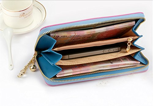 Purse sezione femminile della cerniera borsa a mano portafoglio semplice croce - portafoglio donne delle cartelle denaro 's modello ( colore : Il blu scuro. ) Verde