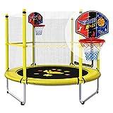 Trampolin, Indoor/Outdoor-Trampolin mit Gehäuse und Basketballkorb, rund 150 × 120 cm, Sicherheit & Antikollision (gelb)