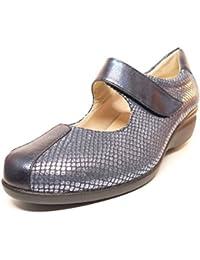 Zapato mujer casual marca DOCTOR CUTILLAS tipo mercedes deportivo piel elastica Azul cierre velcro PLANTILLA EXTRAIBLE - 55602 - 85