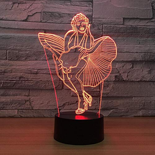 3D Marilyn Monroe Lampe Illusion Optische Led Täuschung Nachtlicht Touch Licht 7 farben farbwechsel berührungssteuerung zuhause dekor tischleuchte mit Fernbedienung Usb Power für mädchen junge