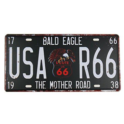 Schwarz Route 66Dose Metall Poster Nummernschild Home Bar Decor Metall Schild -