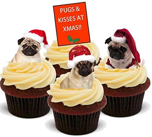 Kisses bei Weihnachten Weihnachtsmannmütze Mix - Interessante Neuheit PREMIUM AUFSTEHEN Essbar Waffel Papier Kuchen Topper Dekoration ()
