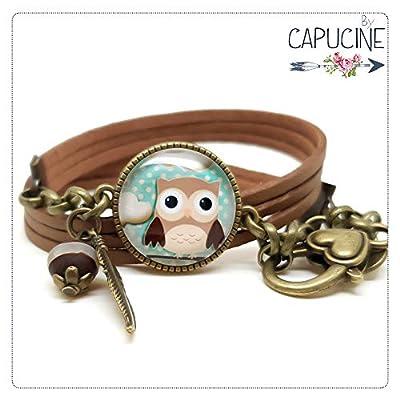 Bracelet 3 Tours Camel Hibou Chouette Marron Bleu avec Cabochon Verre, Breloque et Perle en Jade, Métal Bronze, Simili Cuir, Ajustable