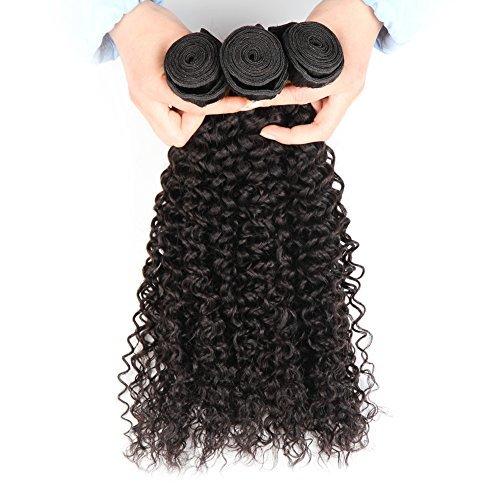 malaisie Extensions de cheveux humains tissage 100% cheveux naturels non traités bouclés cheveux bouclés 3 lots 300 g Total Tête complète Noir naturel peuvent être teints £ ¨ 16 18 20 £ ©