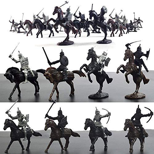 28PCS Ritter Spielzeug, Kunststoff Krieger Mittelalterliche Ritter Pferde Soldat Militärische Aktion Modell Spielzeug, Archaische Soldaten Figuren Spielzeug Geschenk für Junge Kinder