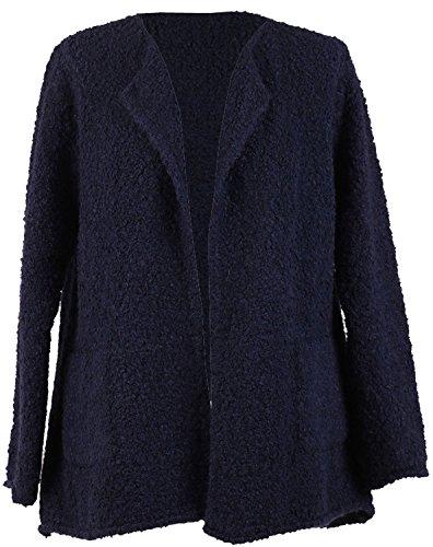 Nouveau Femmes Italien Boucle Alpaga Laine Vierge Mix Dames Cardigan Blazer Plus Tailles Marine