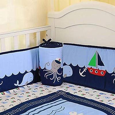 Ceepko Juego de ropa de cama para cuna de bebé, 7 piezas con 1 sábana para cuna, 1 volantes para el polvo, 1 colcha para bebé, 4 protectores para cuna, elefante, océano para niños y niñas