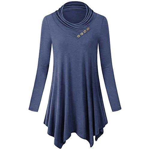 YWLINK Damen Lange ÄRmel Mode Einfarbig UnregelmäßIger Rand Oberteile BeiläUfig Flare Falten Halsband Tunika Bluse Shirt Pullover(XXL,Blau)