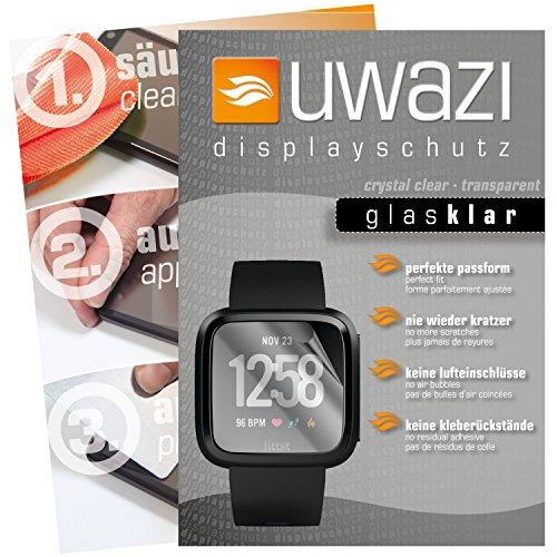 uwazi I 5X Glas-klare Schutzfolie für Fitbit Versa Displayschutzfolie I Folie I Anti Fingerabdruck I Anti Kratzer