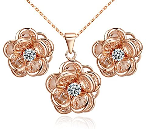 Yoursfs Lovely Camellia Pendant Necklace & Stud Earrings Sets Amber Austrian Crystal Women Jewellery Sets for Party 18ct Rose GP Jewellery