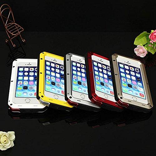 Case antichoc aluminium verre Gorilla Žtanche pour iPhone 5S jaune