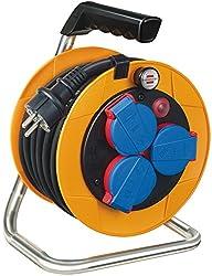 Brennenstuhl Brobusta Kompakt IP44 Gewerbe-/Baustellen Kabeltrommel (10m - Spezialkunststoff, Baustelleneinsatz und Einsatz im Außenbereich, Made In Germany) gelb