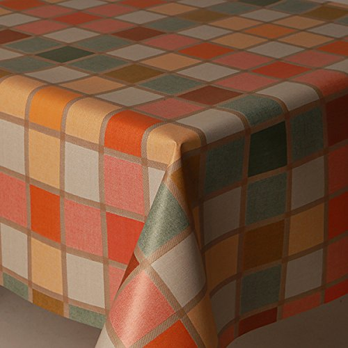 Large 63 inches round mosaic check multi coloured pvc table cloth protector oil vinyl cloth 160cms diameter orange white sage green peach lemon beige checked wipe clean