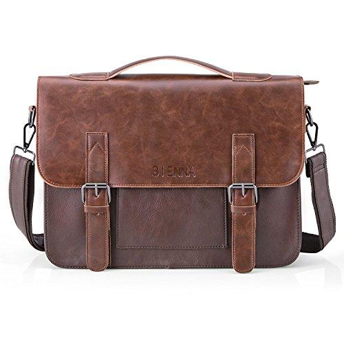 Umhängetasche Herren 14 Zoll, XY-shell Premium Aktentasche Arbeitstasche A4 aus Leder Messenger Bag Männer Laptoptasche Schultertasche für Arbeit Büro - Dunkelbraun (Laptop-tasche Aktentasche Premium)