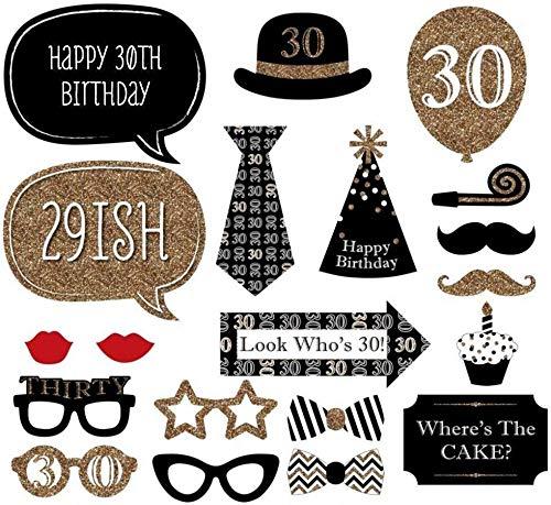 Trimming Shop Fotokabine- / Party-Requisiten für Verkleidung, zum 30. Geburtstag Special, 20 Teile , Pappe, Black-gold-red, 30th