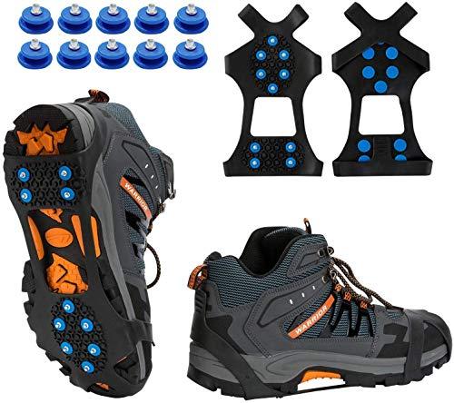 TBoonor Schuhspikes Schuhkrallen Ice Klampen Schnee Spikes Steigeisen Eiskrallen Anti Rutsch mit 10 (Blau, L 40.5-45 (EU))