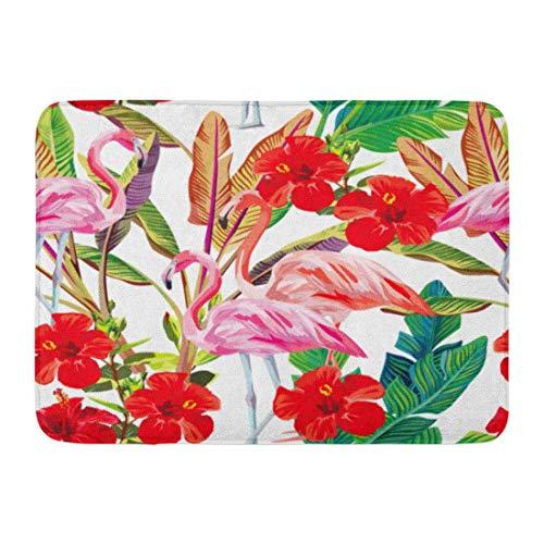 Zhengzho Anti-Rutsch-Fußmatten für drinnen und draußen, Pink Aloha exotisches tropisches Muster, Flamingo Hibiskus-Pflanzen, Strand, Tiere, langlebig, Hausdekoration, 60 x 40 cm