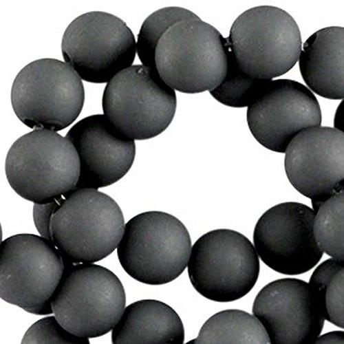 Sadingo Acrylperlen, matte Kunststoffperlen - 100 Stück - 6 mm - Perlen Armbänder selber machen - Farbe wählbar, Farbe:Dunkelgrau 2 (Farbe 2 Perlen Stück)