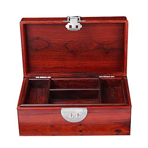 HAIHF Holz Schmuck Aufbewahrungsbox, Chinesische Hochzeit Retro Doppel Massivholz Schmuck/Armband/Ohrringe Make-up Box, Palisander -