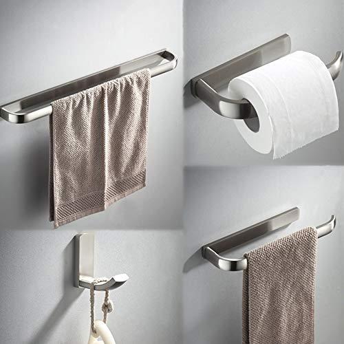 BYEON 4-teiliges Badezimmer-Hardware-Set SUS 304 Edelstahl Toilettenpapierhalter Handtuchhalter 57 cm Lange Kleiderhaken Handtuchring Halter Wandhalterung, Nickel gebürstet -