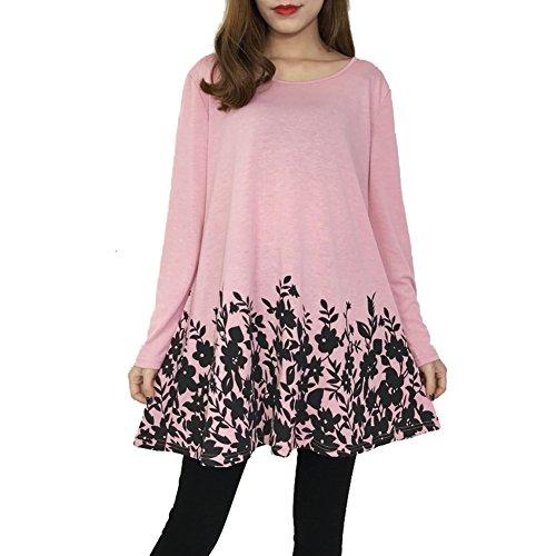 Hibote Chemise Femme Mini Robes Manches Longues Femmes Blouses Tops Travail Casual Chemisiers Casual T-shirt Fleurs Imprimé Tops Solide Lâche Rose A