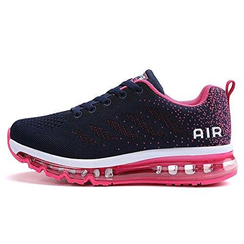 Herren Damen Sportschuhe Laufschuhe mit Luftpolster Turnschuhe Profilsohle Sneakers Leichte Schuhe Blue Plum 42