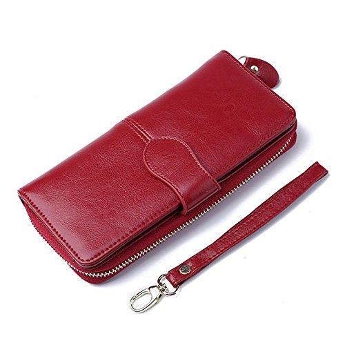 Gendi Donna RFID bloccando la vera borsa di lusso della borsa di cuoio di lunga vita Trifold Organizer Portafoglio Porta carte frizione Iphone7 plus (Rosso Rosa) rosso
