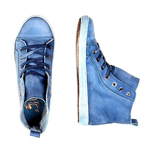 Felmini - Chaussures Femme - Tomber en amour avec Jomar 7846 - Sneakers - Cuir Véritable - Bleu Bleu
