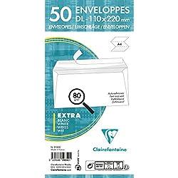 Clairefontaine 5935C Paquet de 50 Enveloppes adhéclair 110 x 220 mm 80 g Blanc