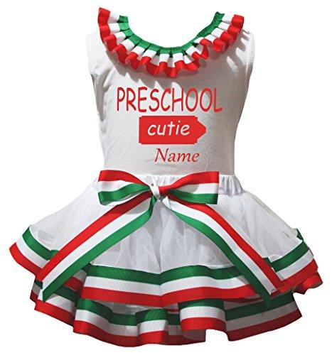 Kostüm Vorschul - Petitebelle Personalisieren Vorschul weißes Hemd RWG Gestreifte Petal Rock Nb-8J 3-12 Monate Mehrfarbig