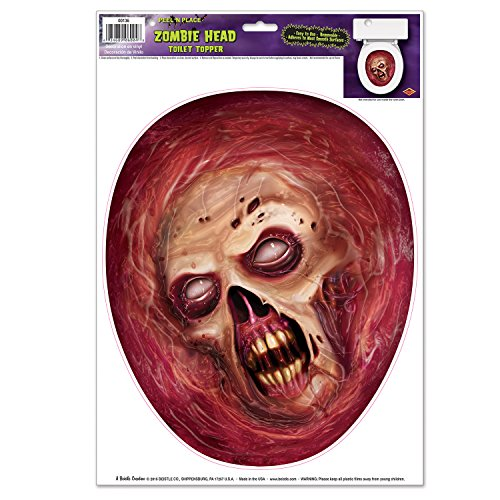 Beistle 00136 Zombie Head WC Topper Peel 'N Place Tabelle, 30,5 x 43,2 cm Multicolor