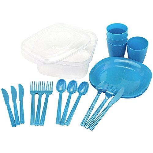 COM-FOUR Campinggeschirr, Picknick Zubehör 21- teilig in blau, Reisegeschirr, platzsparend und hygienisch (grün)