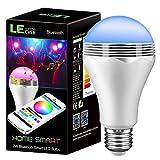 LE Bombilla LED inteligente con altavoz, 2 en 1 - luz y música en una bombilla RGB A65 E27, 16 millones de color, control Bluetooth, APP compatible con Smartphone IOS y Android