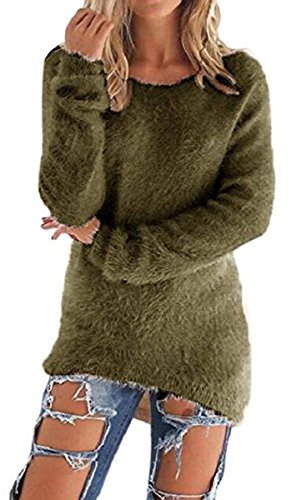 BLACKMYTH Mohair Femme Solide Tricot Chandail Manches Longues Grande Taille Pulls Sweater Armée Verte