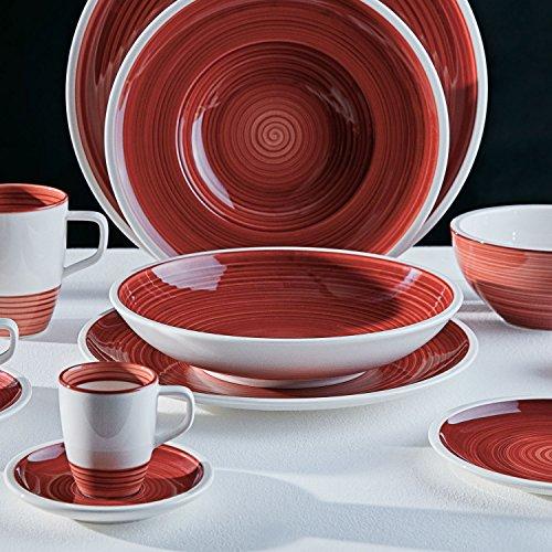 Villeroy & Boch Manufacture Rouge Speiseteller, 27 cm, Premium Porzellan, Rot