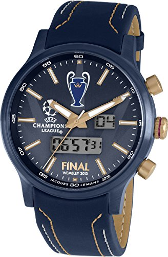 Jacques Lemans Herren-Armbanduhr XL Uefa Champions League Analog - Digital Quarz Leder U-41C