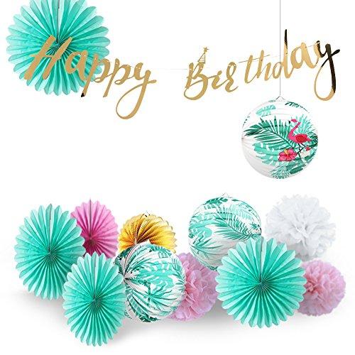 Easy Joy Sommer Party Tropische Blätter Laterne Mint Mottoparty (13er Set)