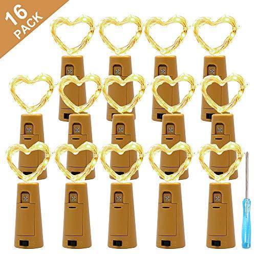 G-Color【16 Stücke】20 LEDs 2M Flaschenlicht Flaschenlichterkette Lichterkette Wasserdichte für Hochzeit Weihnachten Feiertag Atmosphäre Licht romantische Dekoration (Warmweiß)