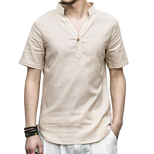 Zhhlaixing per uomo Mens Short Sleeve Thin Linen Slim Fit Shirts Collared Size XL to 5XL Beige