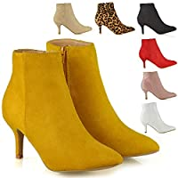 Womens Ankle Boots Low Mid Kitten Heels Ladies Zip Pointy Booties Shoes Size