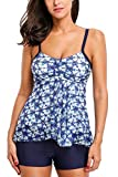 ALove Damen Tankini Set Netz-Element Two Piece Crochet Mit Blauer Hotpants Blau 38