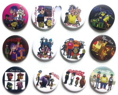 Gorillaz Damon Jamie Awesome Qualität Viel 12New Pins Anstecker Badge 3,2cm