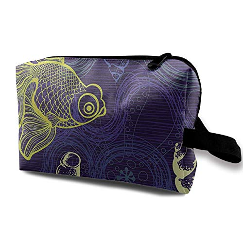 Frauen reisen Kosmetiktaschen Unterwasser Goldfisch Multifunktions-Kulturverfassungs-Organisator hängende Kosmetiktasche - Hängende Handtuch Bar