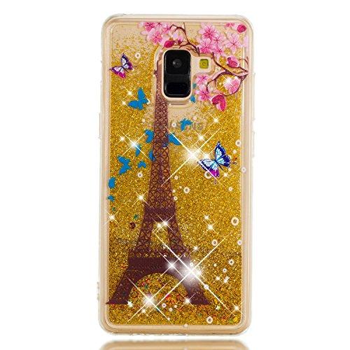 Miagon Flüssig Hülle für Samsung Galaxy A8 2018,Glitzer Weich Treibsand Handyhülle Glitter Quicksand Silikon TPU Bumper Schutzhülle Case Cover-Gold Turm Blume