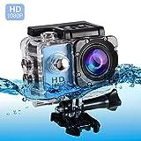 Vbestlife Mini Videocámara Deportiva a Prueba de Agua 1080P Ultra HD 32GB Action Camera al Aire Libre Baterías Recargables con Soporte para Buceo, Nadar, Ciclismo, etc. (Azul)