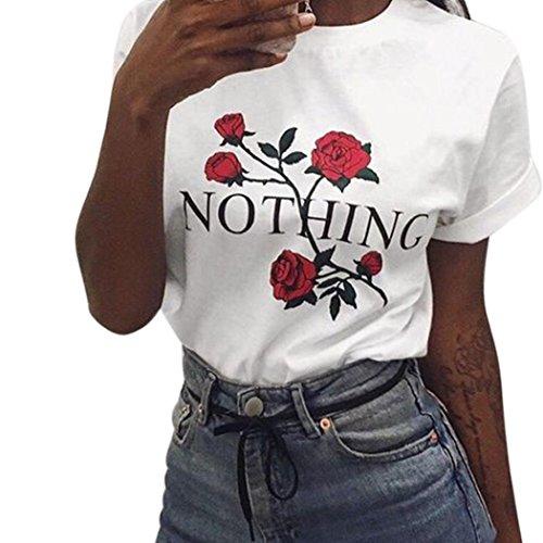 LHWY Bluse Damen Elegant, Frauen Blumen Rosen Druck Sommer Lose Oberseiten Kurzhülse Blusen Beiläufige Sport T-Shirt Weiße Schulcollege Stilvolle Kleidung O Kragen (S, Weiß)